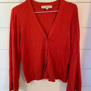 Burnt orange red cropped fitted sweater